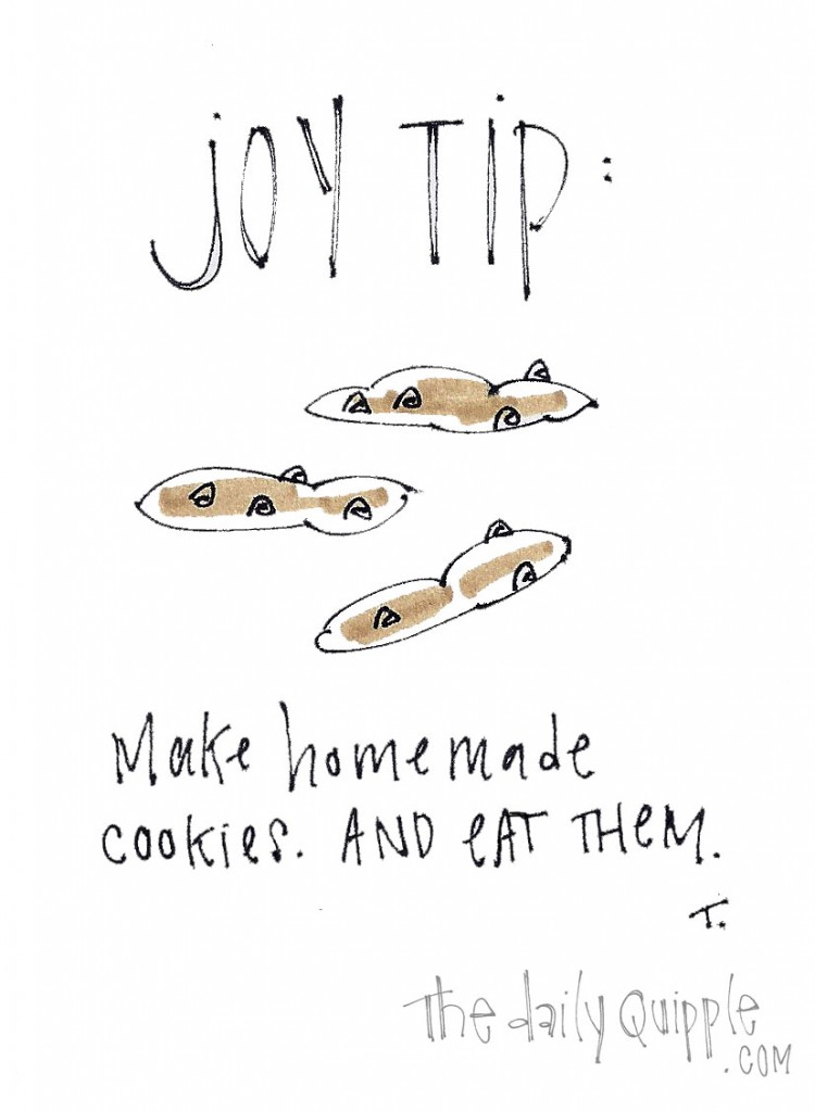 Joy Tip: Make homemade cookies and eat them.