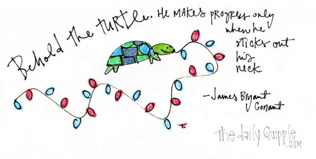 """Behold the turtle. He makes progress only when he sticks out his neck."" James Bryant Conant"