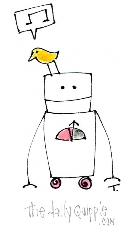 Bird sits on Robot's head and tweets a little song.