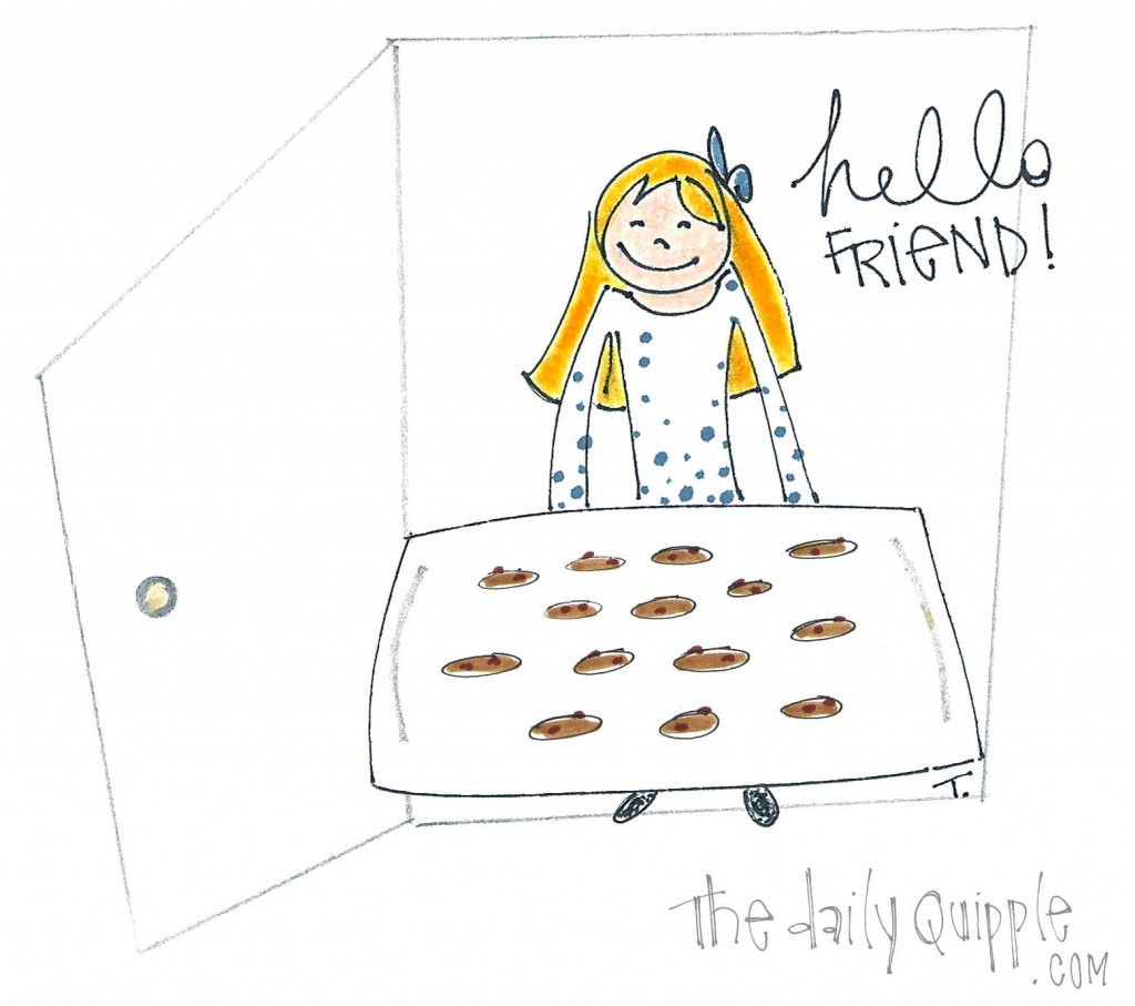 A girl stands in her doorway welcoming an unseen guest with a tray of freshly baked cookies.