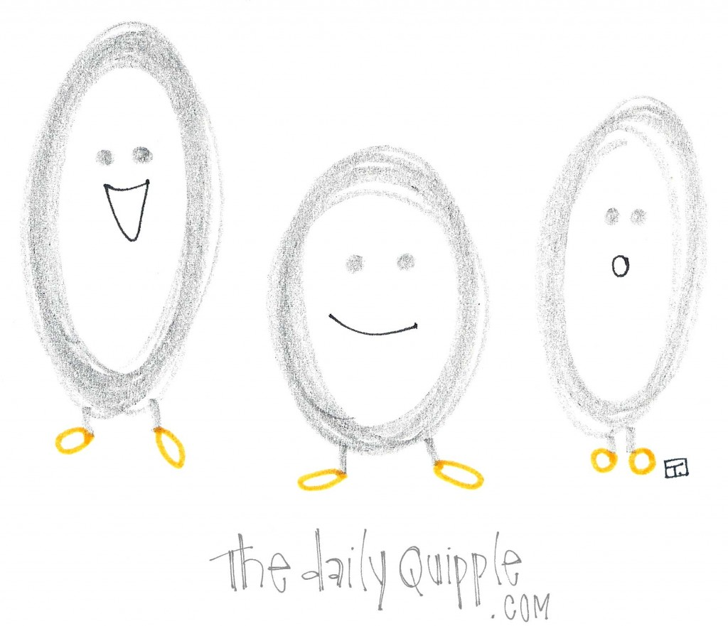 An illustration of three cute eggs with faces and legs.