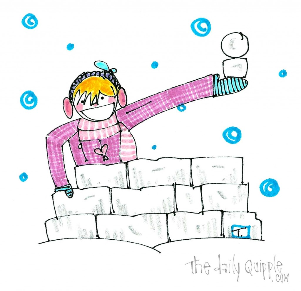 A girl finds delight in winter by building a snow fort!