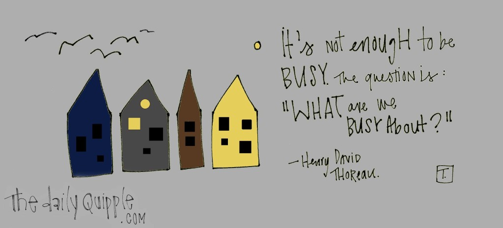 """It's not enough to be busy. The question is, 'What are you busy about?'"" -Henry David Thoreau"