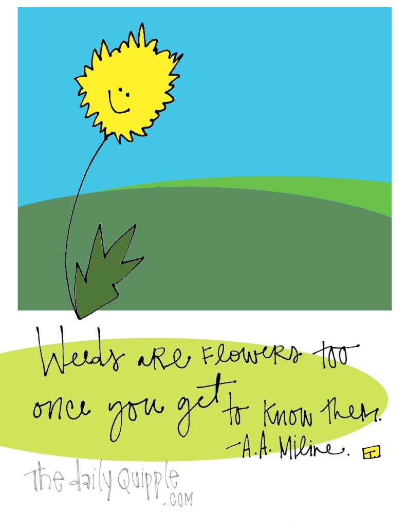 """Weeds are flowers too once you get to know them."" A.A. Miline"