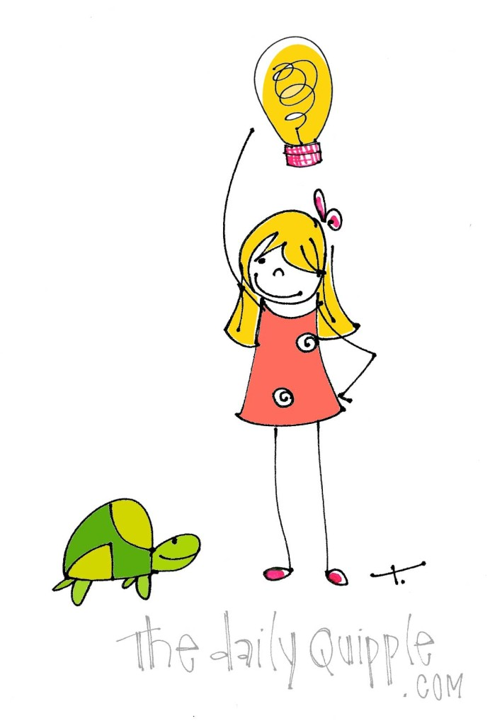 The Quipple Turtle and Quipple T share a light bulb moment.