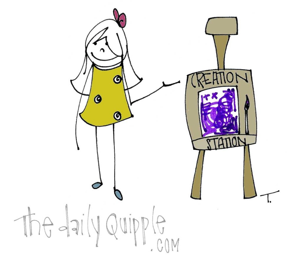 Quipple T paints in purple at the Creation Station.