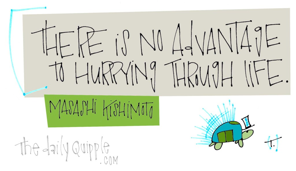 """There is no advantage to hurrying through life."" [Masashi Kishimoto]"