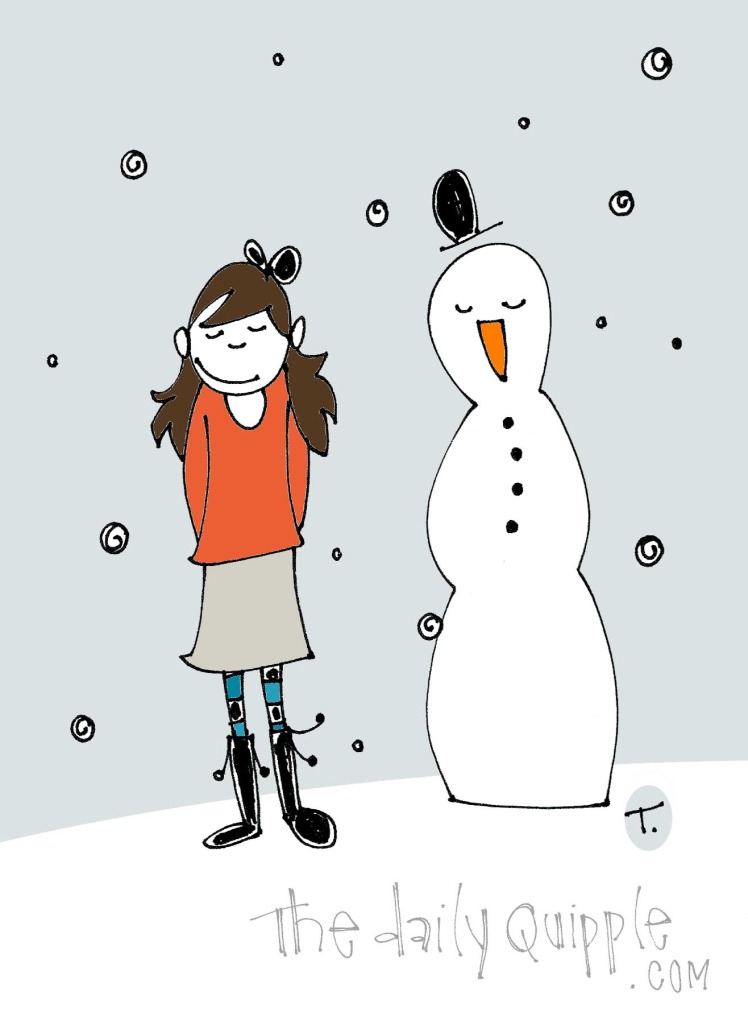 This wordless quipple depicts an early winter with a booted quipple girl and a snowman.