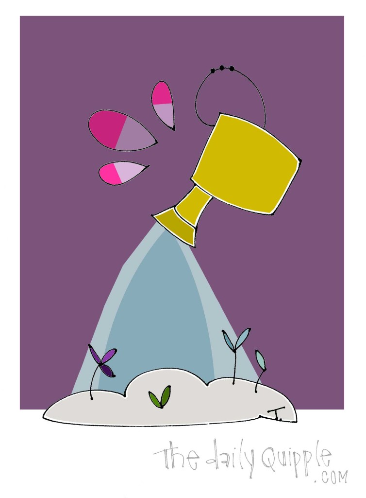An illustration of some flowers getting a shower from a watering can.