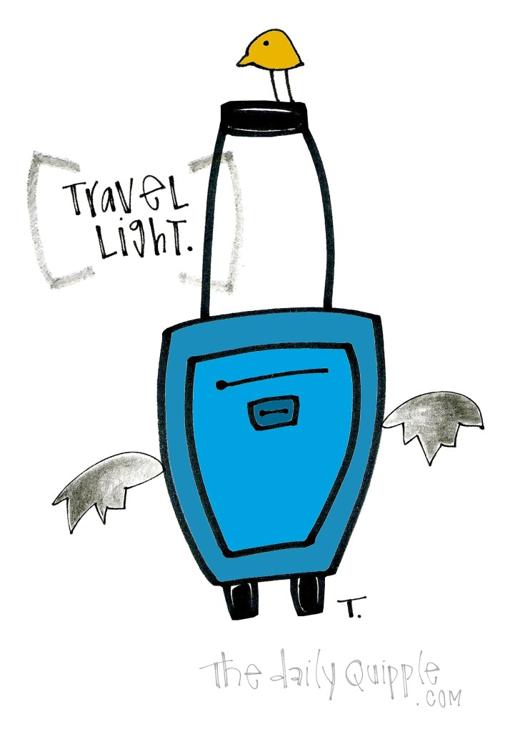 Travel light. Bird and a blue suitcase with a message about traveling light. Make room for memories -- and whatever you might pick up along the way!