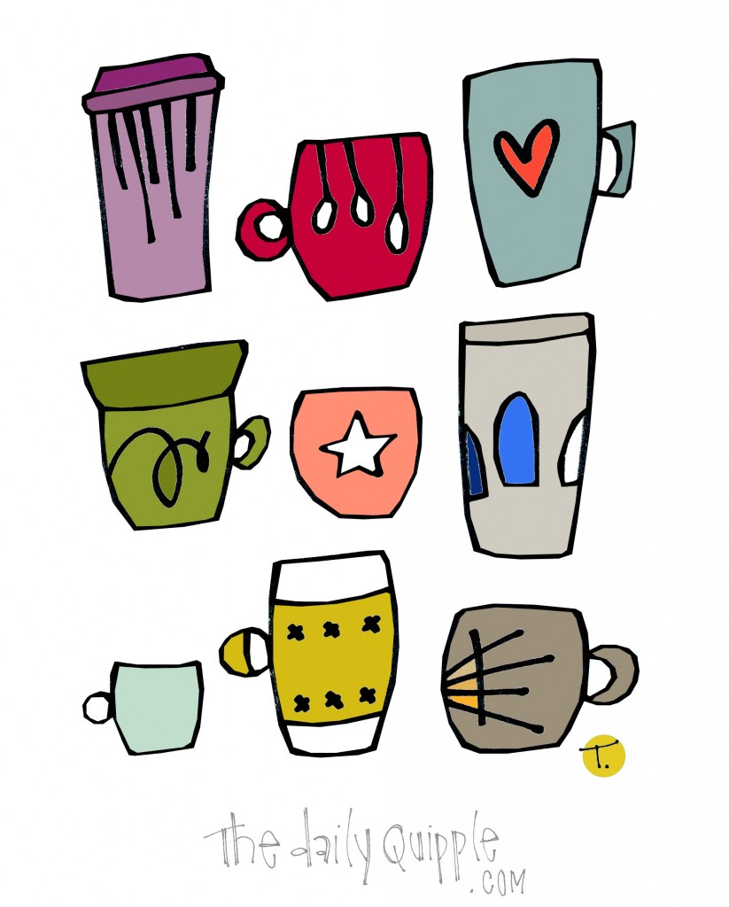 An illustration of a colorful collection of cups and mugs.