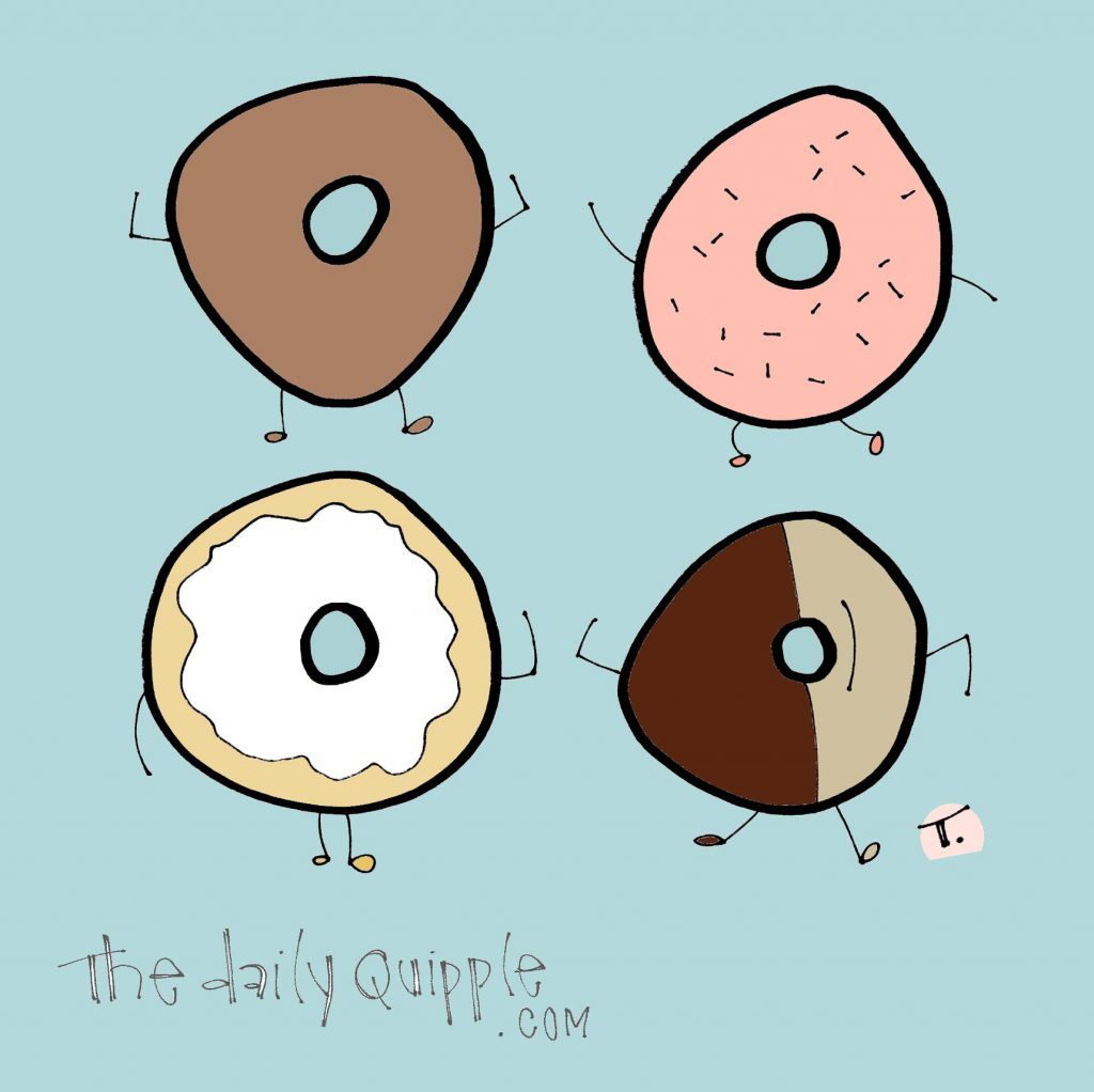 An illustration of four dancing donuts.