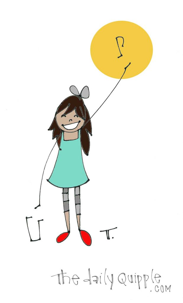 Illustration of a smiling girl with music notes.