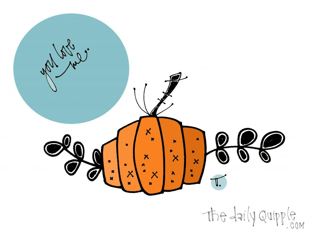 Illustration of a pumpkin, and words: You love me.