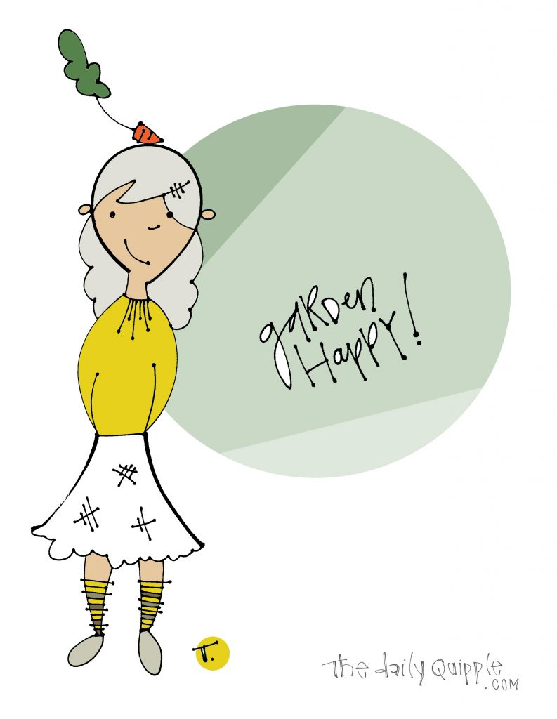 Illustration of a disheveled gal with a carrot on her head and words: Garden happy!
