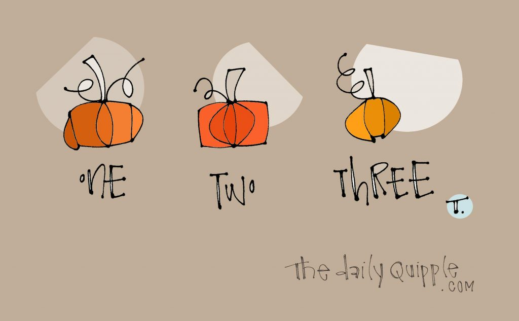 Illustration of three colorful pumpkins on a neutral background with words: One Two Three