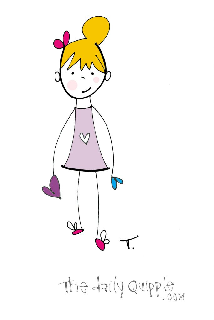 Illustration of a girl holding hearts in her hands.