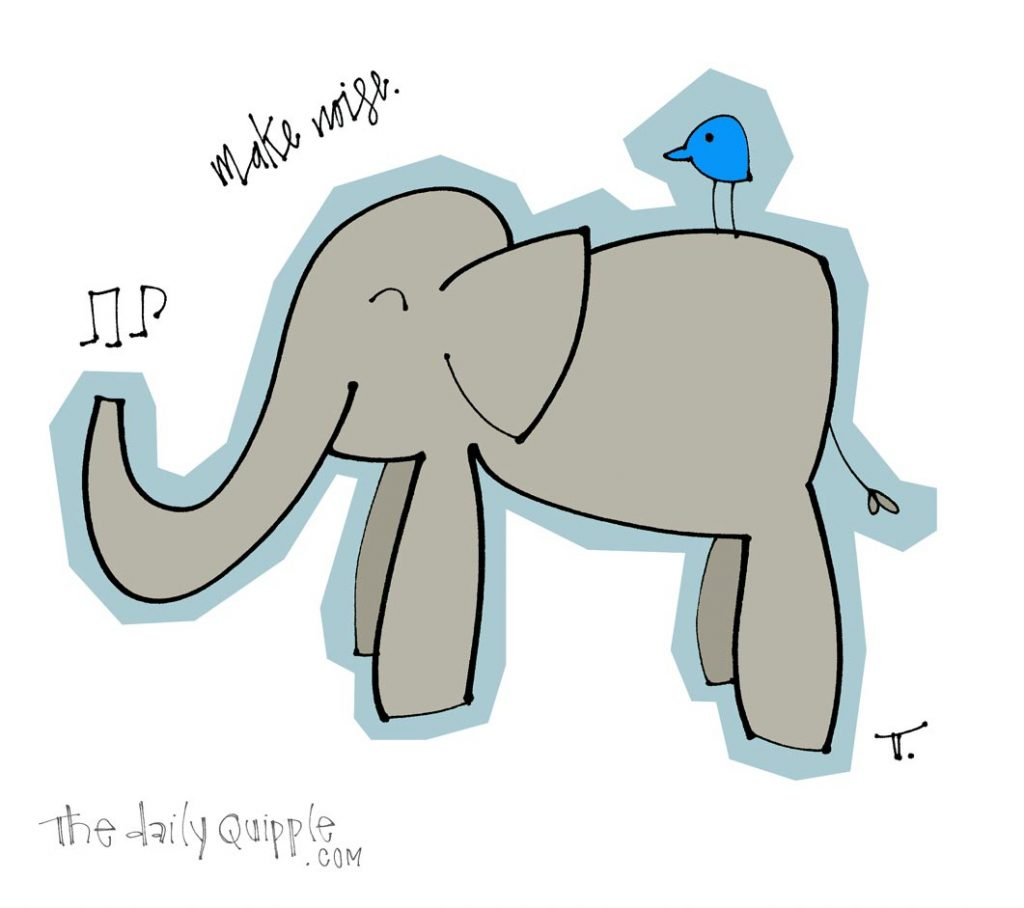 Illustration of a musical elephant, a blue bird, and words: make noise.