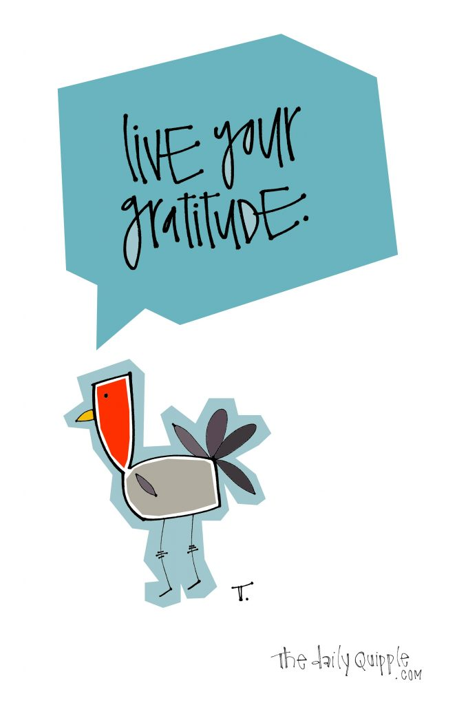 Quipple turkey encourages us to live our gratitude.