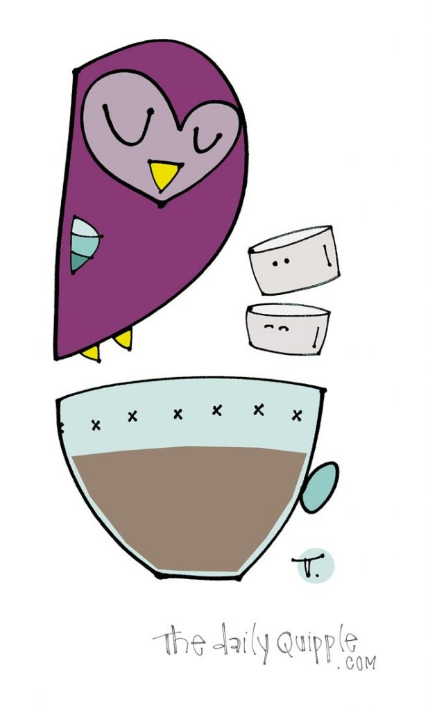 Illustration of a purple owl, marshmallows, and a cup of hot cocoa.